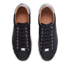 Ugg Black Leather Milo Lace up Sneakers